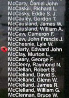Memorial– Pilot Officer Edward John McClarty is also commemorated on the Bomber Command Memorial Wall in Nanton, AB … photo courtesy of Marg Liessens
