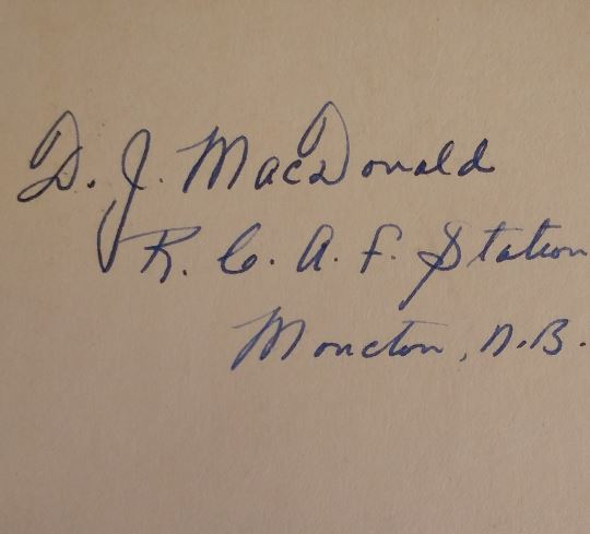 Photo of DONALD JOHN MACDONALD– The inscription with leading aircraftman DJ Macdonald's identifying RCAF service number