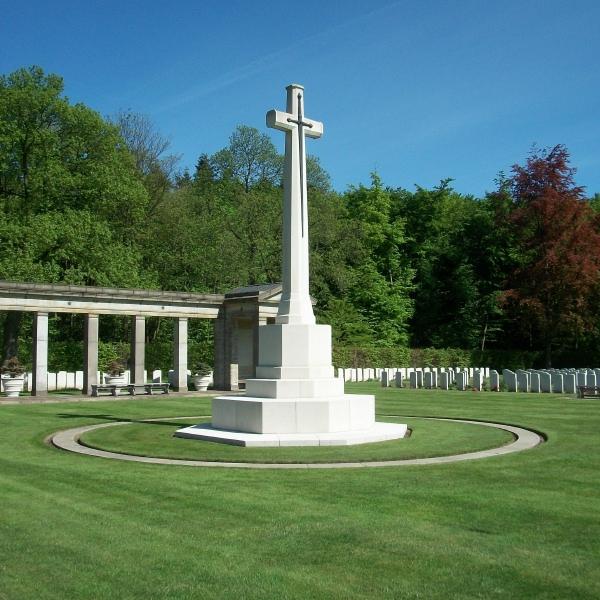 Cemetery– Cross of Sacrifice - Rheinberg War Cemetery - May 2015 Photo courtesy of Marg Liessens