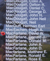Memorial– Flight Sergeant David William MacFarlane is also commemorated on the Bomber Command Memorial Wall in Nanton, AB … photo courtesy of Marg Liessens