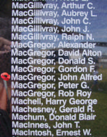 Memorial– Pilot Officer John Alfred Stuart MacGregor is also commemorated on the Bomber Command Memorial Wall in Nanton, AB … photo courtesy of Marg Liessens