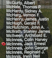 Memorial– Pilot Officer Jack Ernest McInnes is also commemorated on the Bomber Command Memorial Wall in Nanton, AB … photo courtesy of Marg Liessens