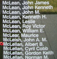 Memorial– Flight Sergeant Albert Benjamin McLellan is also commemorated on the Bomber Command Memorial Wall in Nanton, AB … photo courtesy of Marg Liessens