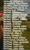 Memorial– Flight Sergeant James Joseph McNeil is also commemorated on the Bomber Command Memorial Wall in Nanton, AB … photo courtesy of Marg Liessens