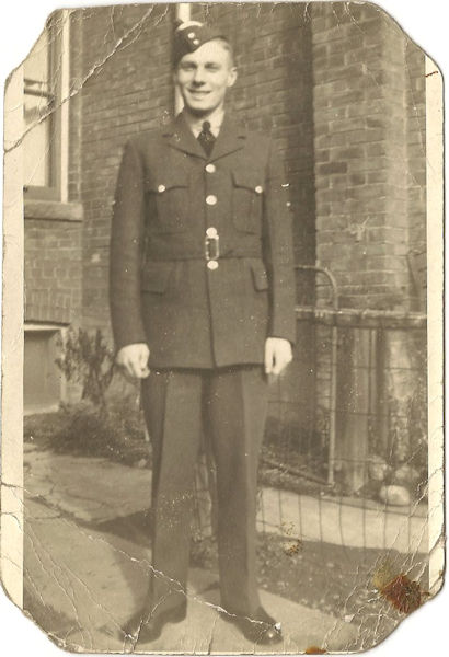 Photo of Thomas Mayne– This image of uncle Tommy was taken in Toronto before he left for his RAF posting to 57 Squadron, Bomber Command