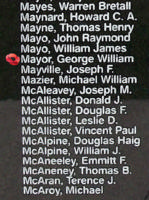 Memorial– Pilot Officer George William Mayor is also commemorated on the Bomber Command Memorial Wall in Nanton, AB … photo courtesy of Marg Liessens
