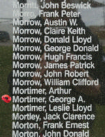 Memorial– Flying Officer George Alexander Mortimer is also commemorated on the Bomber Command Memorial Wall in Nanton, AB … photo courtesy of Marg Liessens