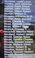 Memorial– Pilot Officer Maurice Rene Nicholas Mouchet is also commemorated on the Bomber Command Memorial Wall in Nanton, AB … photo courtesy of Marg Liessens