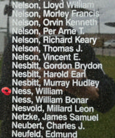 Memorial– Warrant Officer Class II William Ness is also commemorated on the Bomber Command Memorial Wall in Nanton, AB … photo courtesy of Marg Liessens