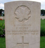 Grave Marker– Grave marker of Pvt Frank Roper in the Assissi War Cemetery, near Assissi, Italy.