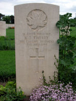Grave Marker– Grave marker of Sgt Kenneth Samuel Tweedy in the Assissi War Cemetery, near Assissi, Italy.