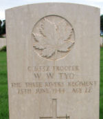 Grave Marker– Grave marker of Tpr William Tyo in the Assissi War Cemetery, near Assissi, Italy.