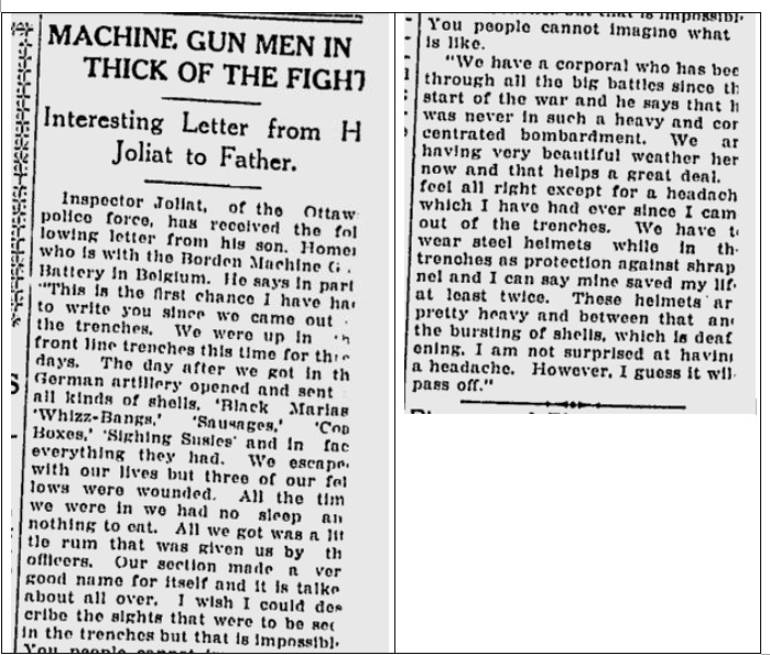 Newspaper Clipping– This letter sent by Homere Joliat to his father was published in the Ottawa Citizen on Thursday, May 4, 1916.  Sadly Corporal Joliat was killed in action on March 24, 1918.