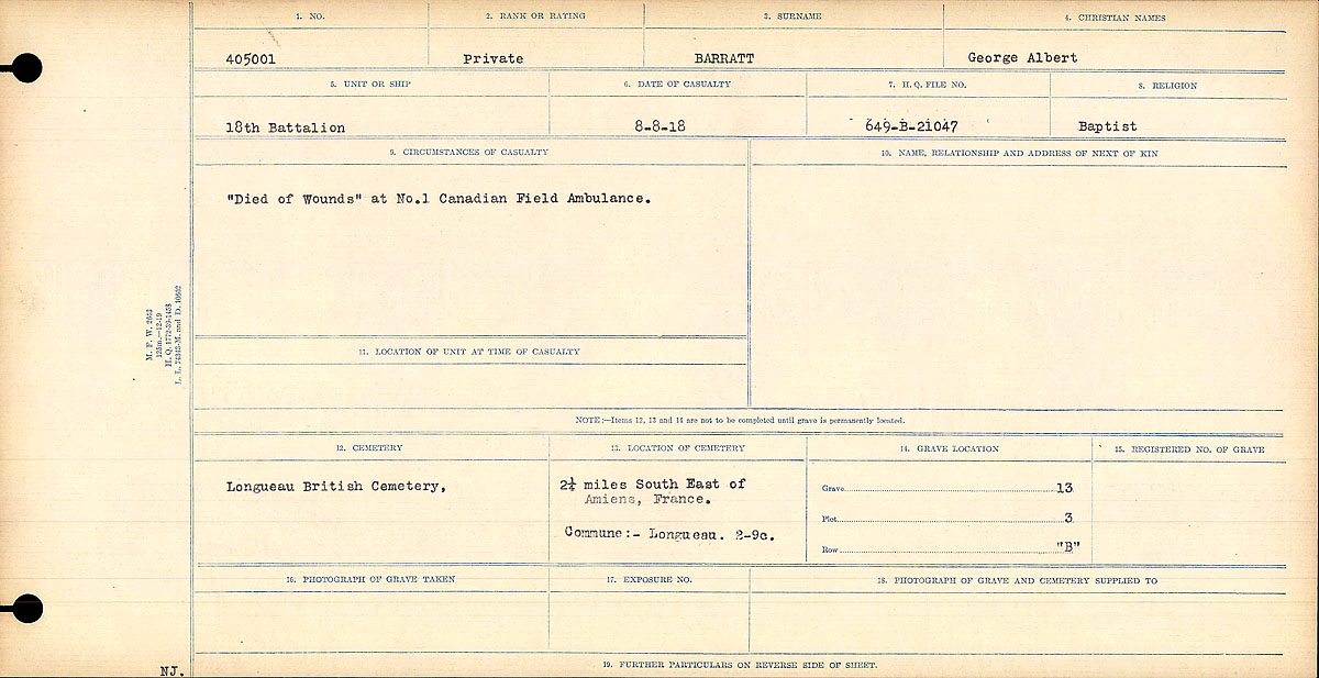 """Circumstances of Death Registers– """"Died of Wounds"""" st No. 1 Canadian Field Ambulance."""