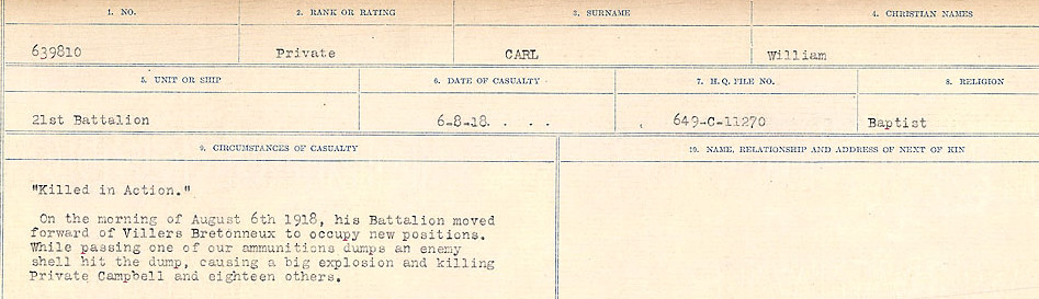 Circumstances of Death Registers– Source: Library and Archives Canada.  CIRCUMSTANCES OF DEATH REGISTERS, FIRST WORLD WAR Surnames:  Canavan to Caswell. Microform Sequence 18; Volume Number 31829_B016727. Reference RG150, 1992-93/314, 162.  Page 219 of 1004.