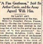 Newspaper Clipping (2)– Article by prominent war journalist.  Unfortunately, Lt.-Col. McLennan's surname is misspelled.