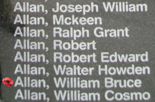 Memorial– Pilot Officer William Bruce Allan is also commemorated on the Bomber Command Memorial Wall in Nanton, AB … photo courtesy of Marg Liessens
