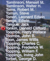Memorial– Pilot Officer Donald Clifford Tonkin is also commemorated on the Bomber Command Memorial Wall in Nanton, AB … photo courtesy of Marg Liessens