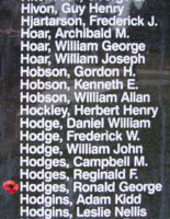Memorial– Flight Sergeant Ronald George Renauf Hodges is also commemorated on the Bomber Command Memorial Wall in Nanton, AB … photo courtesy of Marg Liessens