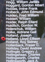 Memorial– Flight Sergeant Lloyd Ellison Holland is also commemorated on the Bomber Command Memorial Wall in Nanton, AB … photo courtesy of Marg Liessens