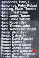 Memorial– Pilot Officer John Douglas Bruce Hunter is also commemorated on the Bomber Command Memorial Wall in Nanton, AB … photo courtesy of Marg Liessens