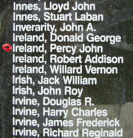 Memorial– Sergeant Percy John Ireland is also commemorated on the Bomber Command Memorial Wall in Nanton, AB … photo courtesy of Marg Liessens