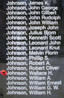 Memorial– Flight Sergeant Wallace Hayden Johnson is also commemorated on the Bomber Command Memorial Wall in Nanton, AB … photo courtesy of Marg Liessens