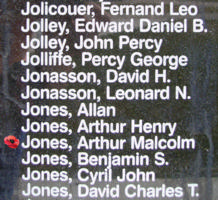 Memorial– Pilot Officer Arthur Malcolm Jones is also commemorated on the Bomber Command Memorial Wall in Nanton, AB … photo courtesy of Marg Liessens