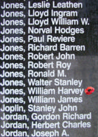 Memorial– Pilot Officer William Harvey Jones is also commemorated on the Bomber Command Memorial Wall in Nanton, AB … photo courtesy of Marg Liessens