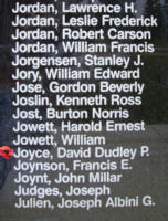 Memorial– Flying Officer David Dudley Plaister Joyce is also commemorated on the Bomber Command Memorial Wall in Nanton, AB … photo courtesy of Marg Liessens
