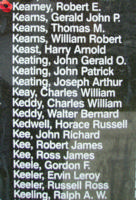 Memorial– Flight Sergeant Robert Emmett Kearney is also commemorated on the Bomber Command Memorial Wall in Nanton, AB … photo courtesy of Marg Liessens