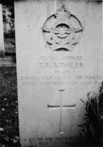 """Grave Marker– Grave marker of F/O Thomas F. Kinsler RCAF of Thomaston, Georgia, U.S.A. at Reichswald Forest War Cemetery, Cleves, North Rhine-Westphalia, Germany. F/O Kinsler was killed in action at the age of 26 while on active service with No. 411 """"Grizzly Bear"""" Squadron, Royal Canadian Air Force when his homebound Supermarine Spitfire (PV240) was hit by enemy flak and crashed at Bentheim, Germany on October 29, 1944."""