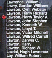 Memorial– Flight Sergeant W Op Harry Taylor Adamson Lawson is also commemorated on the Bomber Command Memorial Wall in Nanton, AB … photo courtesy of Marg Liessens