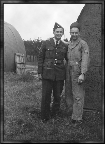 Group Photo– Sgt. Jack Lupinsky with Cpl. Bill Kaliser somewhere in England 1943
