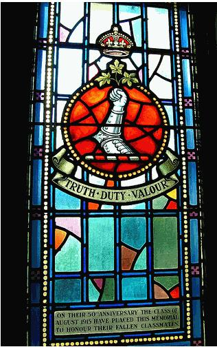 Memorial Stained Glass– 1070 Captain Frederick Pole Daw (RMC 1914-15) was the son of Major (Rev.) Samuel, chaplain of the 120th Battalion and Jessie Daw, of Hamilton, Ontario. He studied at the Royal Military College of Canada. Gentleman Cadet Daw, from RMC was to be Second Lieutenant 22 January 1915 (London Gazette January 1915). He had served at Gallipoli and in Egypt and was later sent to France. He served with the Worcestershire Regiment Division: 4th Bn. His brother, Lieutenant Herbert Daw was killed several months before Frederick was Killed In Action on October 18, 1916. His grave is in IX. L. 18 in the Bancourt British Cemetery in Pas de Calais, France. He is commemorated on the Memorial Arch at the Royal Military College of Canada and on page 570 of the First World War Book of Remembrance.