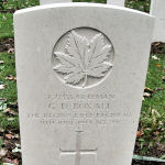 Grave Marker– The grave marker (2010) at the Beny-sur-Mer Canadian War Cemetery, located outside Reviers, about 4  kilometres from Juno Beach in Normandy, France. May he rest in peace. (K. Falconer & J. Stephens)