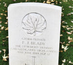 Grave Marker– A photograph (2010) of the headstone at the Beny-sur-Mer Canadian War Cemetery, located at Reviers, about 4  kilometres from Juno Beach in Normandy, France. May he rest in peace. (J. Stephens)