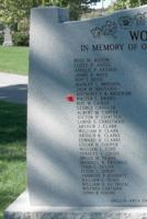 Memorial– Honourary Captain Water Leslie Brown is also commemorated on the WWII Memorial in Orillia, ON … photo courtesy of Marg Liessens