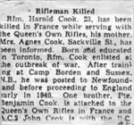 Obituary– This obituary of Rifleman Cook was obtained from a Toronto newspaper.