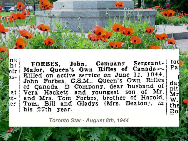 Newspaper Clipping– Deaths on Active Service - newspaper column.