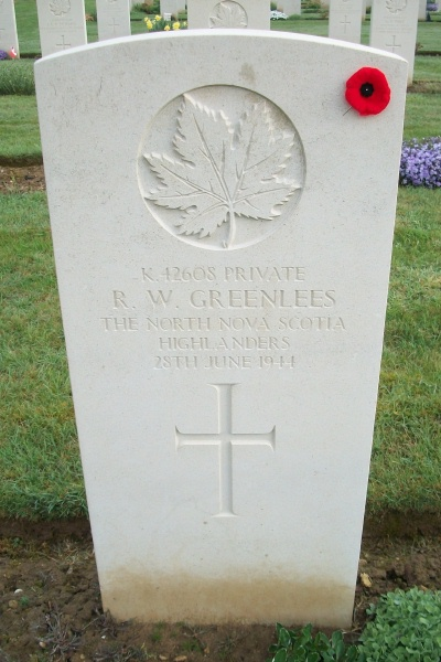 Grave Marker– Beny-sur-Mer Canadian War Cemetery - April 2017 … photo courtesy of Marg Liessens