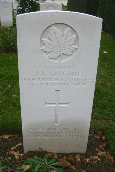 Grave marker– Grave marker - Beny-sur-Mer Canadian War Cemetery … photo courtesy of Marg Liessens
