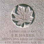 Grave Marker– This photo of Sgt Harris' gravemarker was taken by Padre Craig Cameron of The QOR of C on June 6th, 2003.