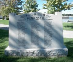 Memorial– Corporal Irwin Norman Henry is also commemorated on the WWII Memorial in Orillia, ON … photo courtesy of Marg Liessens