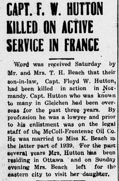 Newspaper Clipping– Newspaper article of Capt. Walter Lloyd Hutton. The article says F. W. Hutton, but all other information matches up, so it must be a typo.