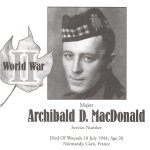 Memorial Page– Archibald MacDonald is honoured on page 135 of the Gananoque Remembers booklet, published on January 31, 2005.