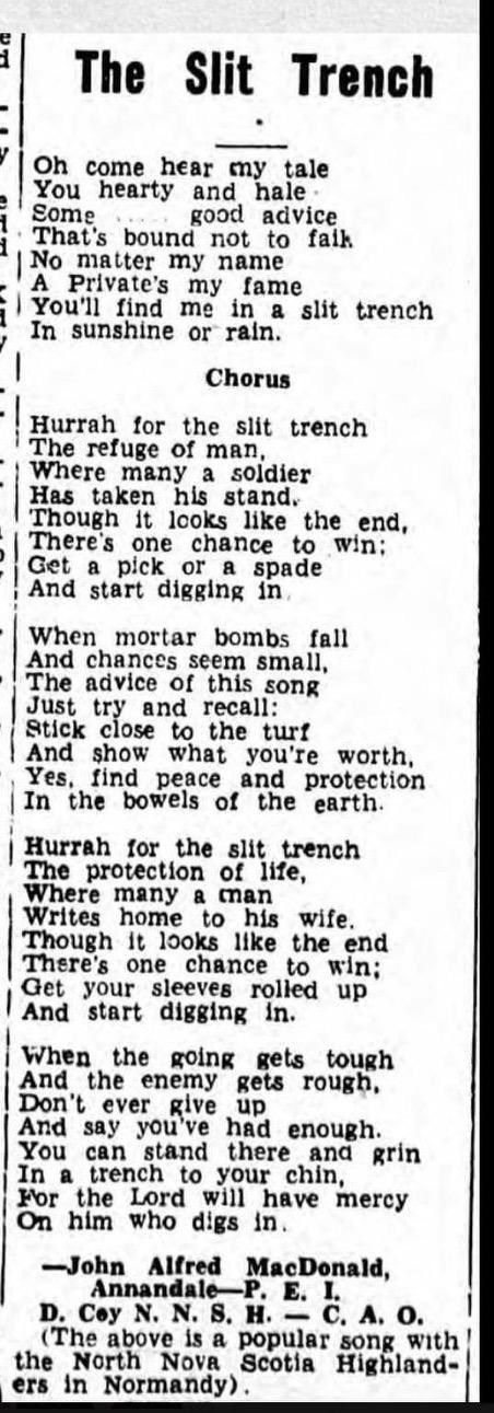 Newspaper clipping– Song written by John MacDonald
