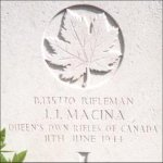 Grave Marker– This photo of Rfn Macina's gravemarker was taken by Padre Craig Cameron of The QOR of C in June 1997.