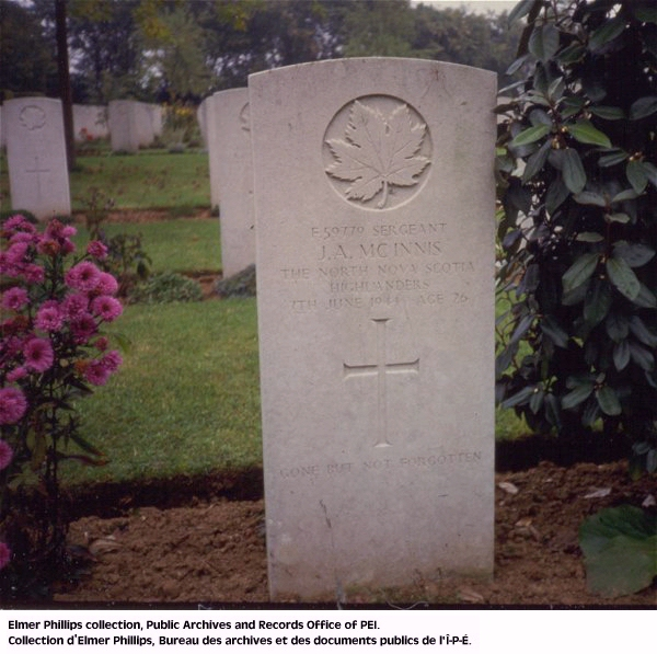 Grave marker for J.A. Mcinnis