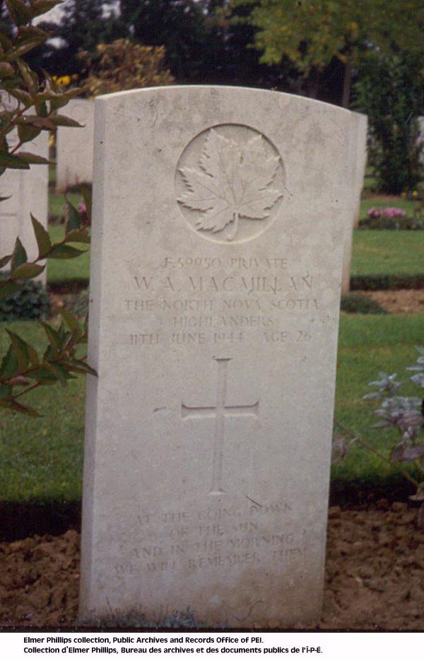 Grave marker for W.A. Macmillan